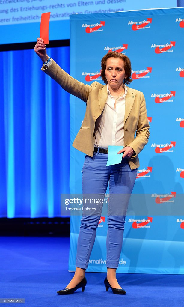 Co-deputy head of the Alternative fuer Deutschland (AfD) political party Beatrix von Storch reacts with a voting card at the party's federal congress on May 01, 2016 in Stuttgart, Germany. A server of the party had been hacked by a left political group and the addresses of AfD members has been published. The AfD, a relative newcomer to the German political landscape, has emerged from Euro-sceptic conservatism towards a more right-wing leaning appeal based in large part on opposition to Germany's generous refugees and migrants policy. Since winning seats in March elections in three German state parliaments the party has sharpened its tone, calling for a ban on minarets and claiming that Islam does not belong in Germany.