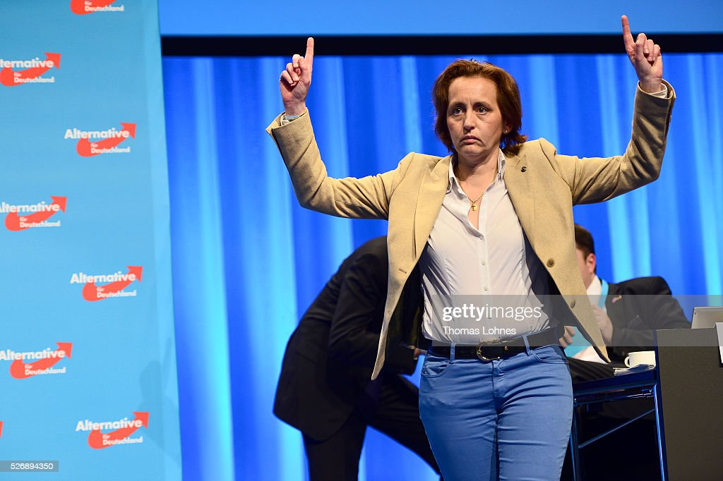Co-deputy head of the Alternative fuer Deutschland (AfD) political party Beatrix von Storch reacts at the party's federal congress on May 01, 2016 in Stuttgart, Germany. A server of the party had been hacked by a left political group and the addresses of AfD members has been published. The AfD, a relative newcomer to the German political landscape, has emerged from Euro-sceptic conservatism towards a more right-wing leaning appeal based in large part on opposition to Germany's generous refugees and migrants policy. Since winning seats in March elections in three German state parliaments the party has sharpened its tone, calling for a ban on minarets and claiming that Islam does not belong in Germany.