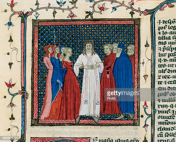 Codex 105 A couple being married by a clergyman Central miniature folio 102v Book IV By Henricus von Assia Chapter Archive of Tarazona Spain