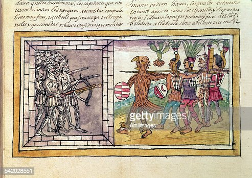 Codex Duran: Pedro de Alvarado companion-at-arms of Hernando Cortes besieged by Aztec warriors
