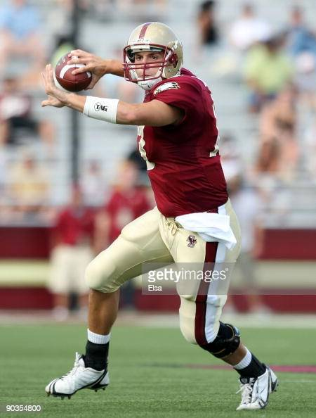 Codi Boek of the Boston College Eagles passes the ball in the second half against the Northeastern Huskies on September 5 2009 at Alumni Stadium in...