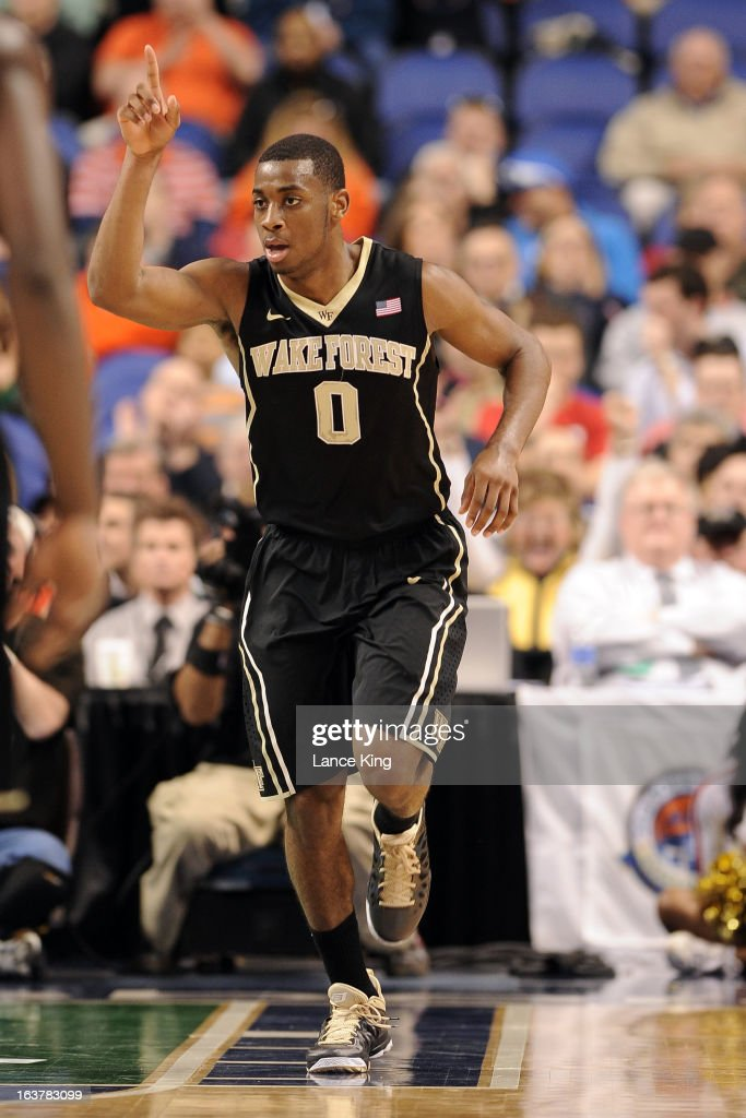 Codi Miller-McIntyre #0 of the Wake Forest Demon Deacons reacts following a basket against the Maryland Terrapins during the first round of the 2013 Men's ACC Tournament at the Greensboro Coliseum on March 14, 2013 in Greensboro, North Carolina. Maryland defeated Wake Forest 75-62.