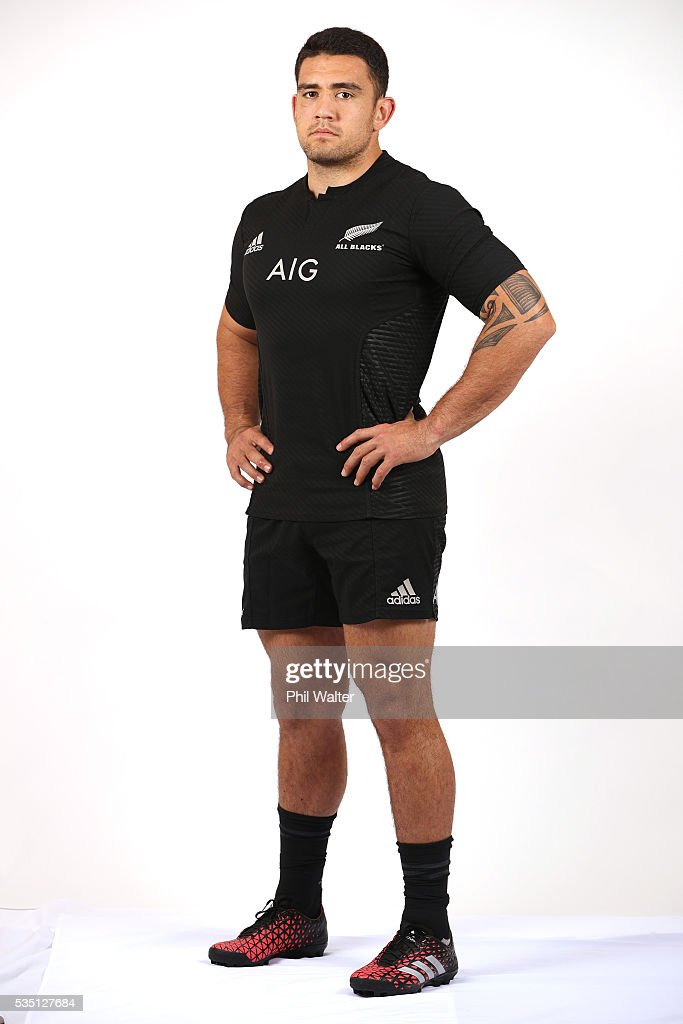 Codi Taylor of the All Blacks poses for a portrait during a New Zealand All Black portrait session on May 29, 2016 in Auckland, New Zealand.