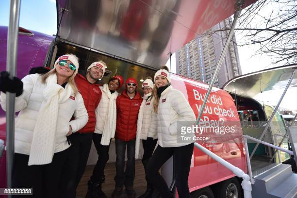 Codie Murphy Luke Hicks Regina Smith Peter Laurel Estee Hope and Katie Smith at the 'Did You Check eBay' Holiday Airstream at Christkindl Market on...