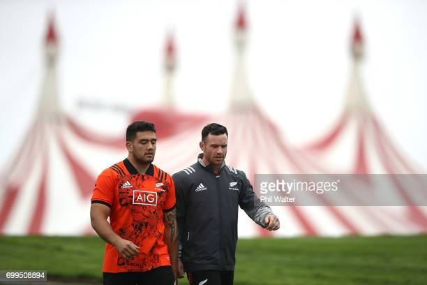 Codie Taylor and Ryan Crotty of the All Blacks during a New Zealand All Blacks training session at Trusts Stadium on June 22 2017 in Auckland New...