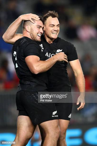 Codie Taylor is congratulated on his try by Israel Dagg during the International Test match between the New Zealand All Blacks and Samoa at Eden Park...