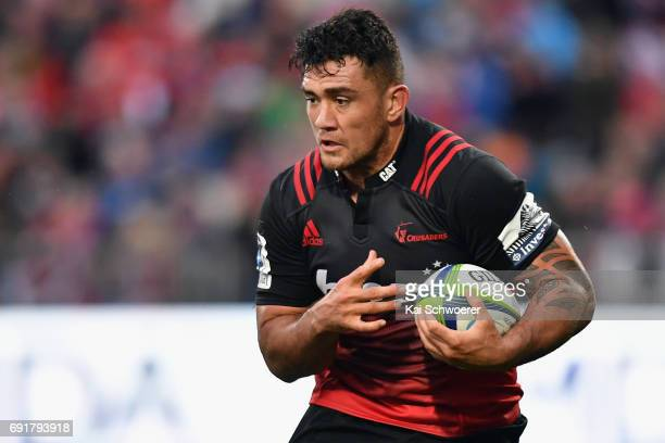Codie Taylor of the Crusaders charges forward during the round 15 Super Rugby match between the Crusaders and the Highlanders at AMI Stadium on June...