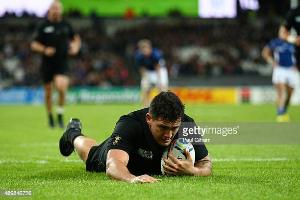 Codie Taylor of the New Zealand All Blacks scores his teams ninth try during the 2015 Rugby World Cup Pool C match between New Zealand and Namibia at...