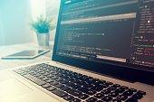 coding code program programming compute coder work write software hacker develop man concept - stock image