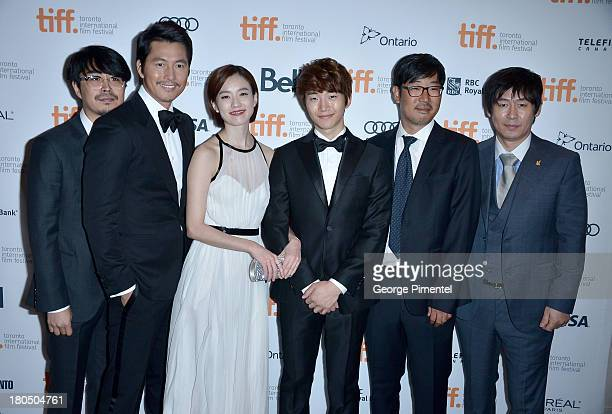 Codirector Cho Uiseok actors Woosung Jung Han Hyojoo Lee JunHo codirector Kim Byungseo and actor Sol Kyunggu attend the 'Cold Eyes' premiere during...