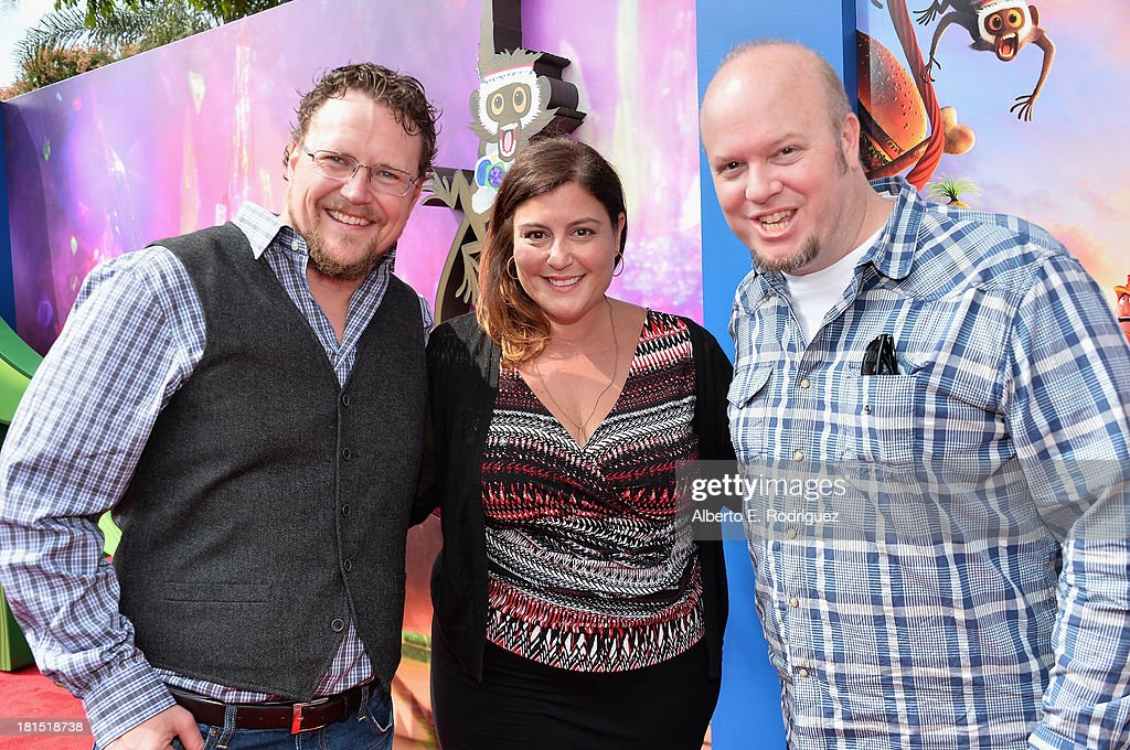 Co-director Kris Pearn, Sony Pictures Animations' Michelle Raimo Kouyate and co-directror Cody Cameron arrive to the premiere of Columbia Pictures and Sony Pictures Animation's 'Cloudy With A Chance of Meatballs 2' at the Regency Village Theatre on September 21, 2013 in Westwood, California.