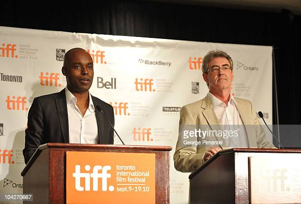 CoDirector of TIFF Cameron Bailey and Director/CEO of TIFF Piers Handling speak at the 35th Toronto International Film Festival Awards Reception held...