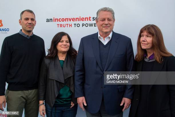 Codirector/cinematographer Jon Shenk codirector Bonnie Cohen former US vice president Al Gore and Documentary Film Participant Diane Weyermann attend...
