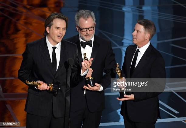 Codirectors Byron Howard and Rich Moore and producer Clark Spencer accept Best Animated Feature Film for 'Zootopia' onstage during the 89th Annual...