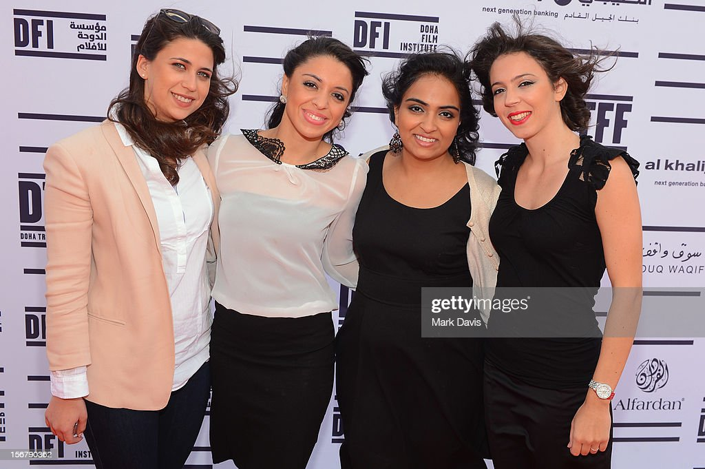 Co-Directors Melanie Fridgant,Rana Khaled,Shannon Farhoud, Ashlene Ramadan of 'Lyrics Revolt' attend the Made In Qatar Press Conference at the Al Mirqab Hotel during the 2012 Doha Tribeca Film Festival on November 21, 2012 in Doha, Qatar.