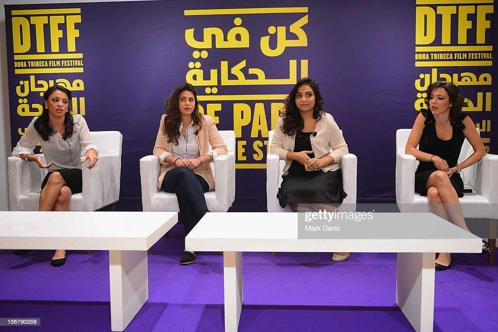 Co-Directors Rana Khaled,Melanie Fridgant,Shannon Farhoud, Ashlene Ramadan of 'Lyrics Revolt' attend the Made In Qatar Press Conference at the Al Mirqab Hotel during the 2012 Doha Tribeca Film Festival on November 21, 2012 in Doha, Qatar.