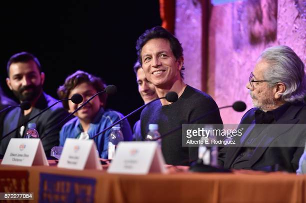 CoDirector/screenwriter Adrian Molina actors Anthony Gonzalez Gael Garcia Bernal Benjamin Bratt and Edward James Olmos at the Global Press Conference...