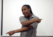 Codman Academy student Ogechi Okwologu during practice for the upcoming team poetry slam competition Louder Than a Bomb