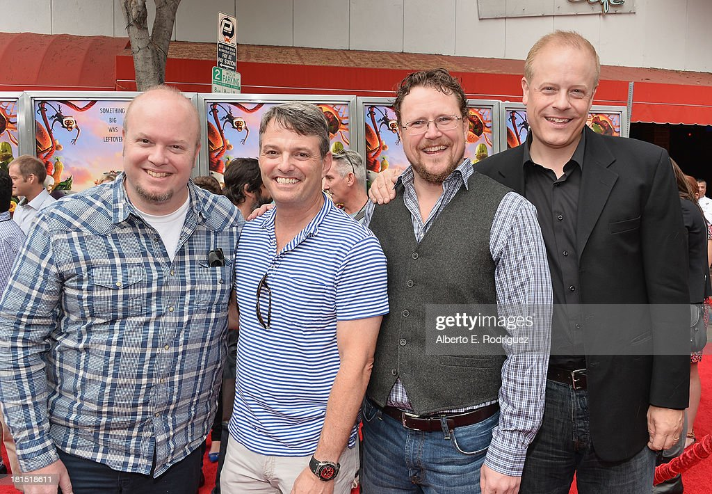 Co-drector Cody Cameron, president of digital production at Sony Pictures Animations' Bob Osher, co-drector Kris Pearn and producer Kirk Bodyfelt arrive to the premiere of Columbia Pictures and Sony Pictures Animation's 'Cloudy With A Chance of Meatballs 2' at the Regency Village Theatre on September 21, 2013 in Westwood, California.