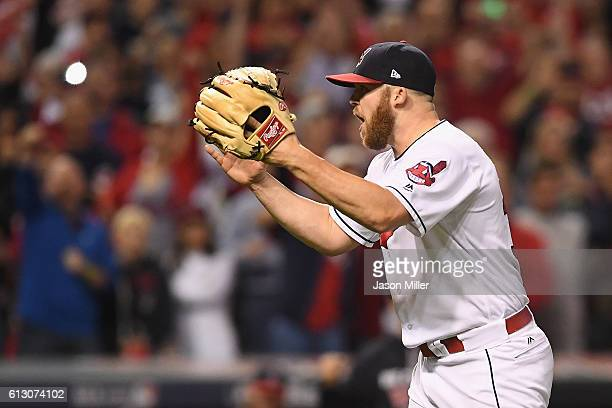Cody Allen of the Cleveland Indians celebrates after defeating the Boston Red Sox 54 in game one of the American League Divison Series at Progressive...