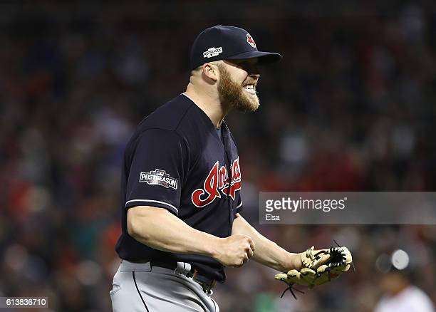 Cody Allen of the Cleveland Indians celebrates after defeating the Boston Red Sox 43 in game three of the American League Divison Series to advance...