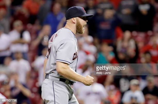 Cody Allen of the Cleveland Indians celebrates after the last out of the 87 win over the Cincinnati Reds at Great American Ball Park on May 23 2017...