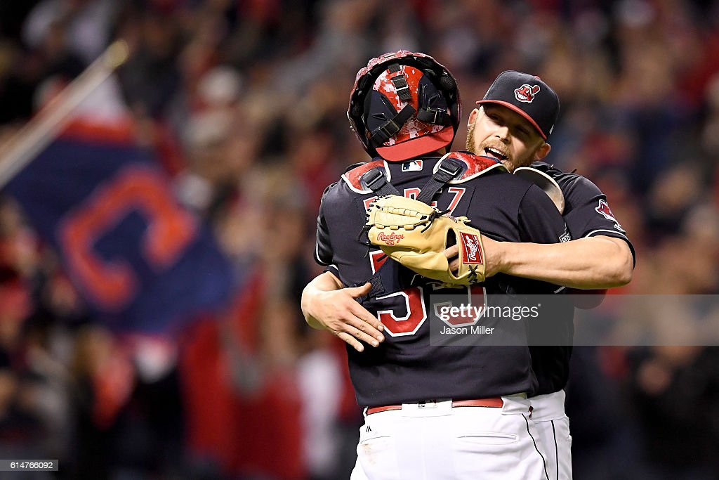 Cody Allen #37 of the Cleveland Indians celebrates with Roberto Perez #55 after defeating the Toronto Blue Jays with a score of 2 to 0 in game one of the American League Championship Series at Progressive Field on October 14, 2016 in Cleveland, Ohio.