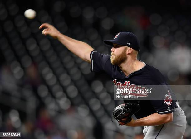 Cody Allen of the Cleveland Indians delivers a pitch against the Minnesota Twins during the ninth inning of the game on April 17 2017 at Target Field...
