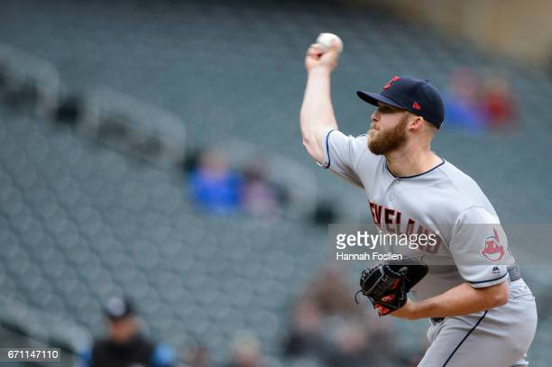 Cody Allen of the Cleveland Indians delivers a pitch against the Minnesota Twins during the game on April 20 2017 at Target Field in Minneapolis...