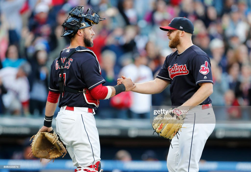 Cody Allen #37 of the Cleveland Indians is congratulated by Yan Gomes #7 after the Indians defeated the Chicago White Sox at Progressive Field on October 1, 2017 in Cleveland, Ohio. The Indians defeated the White Sox 3-1.