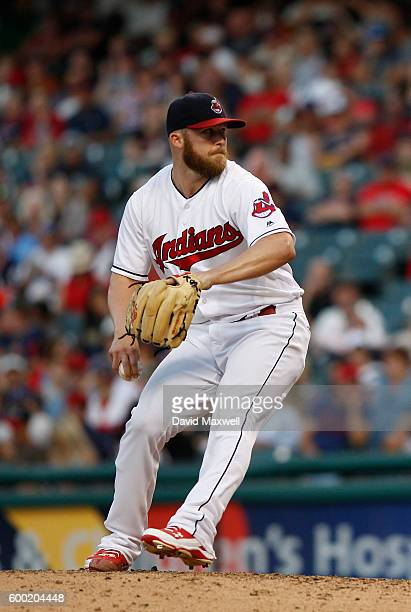 Cody Allen of the Cleveland Indians pitches against the Miami Marlins in the ninth inning of their interleague game at Progressive Field on September...