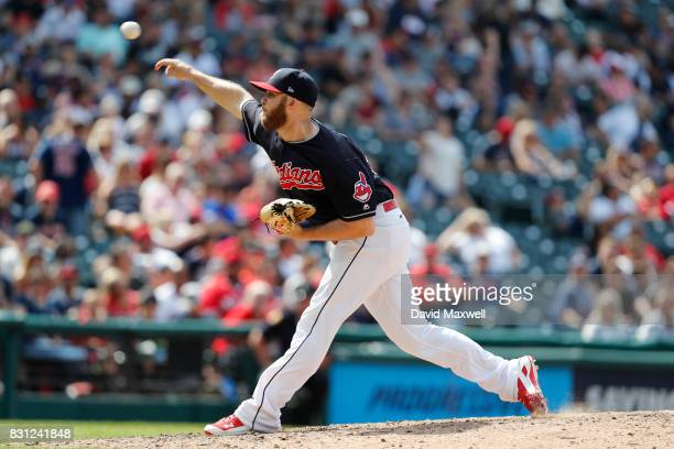 Cody Allen of the Cleveland Indians pitches against the New York Yankees in the eighth inning at Progressive Field on August 6 2017 in Cleveland Ohio...
