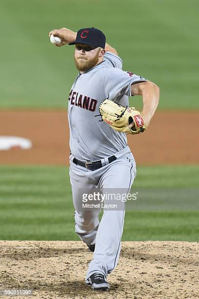 Cody Allen of the Cleveland Indians pitches during a baseball game against the Washington Nationals at Nationals Park at on August 9 2016 in...