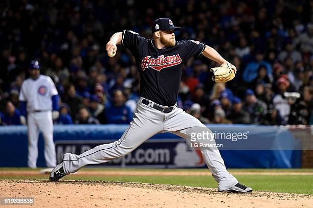 Cody Allen of the Cleveland Indians pitches during Game 5 of the 2016 World Series against the Chicago Cubs at Wrigley Field on Sunday October 30...
