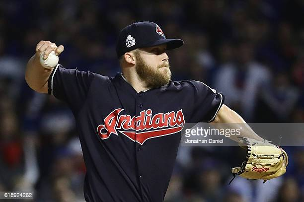 Cody Allen of the Cleveland Indians pitches in the eighth inning against the Chicago Cubs in Game Three of the 2016 World Series at Wrigley Field on...