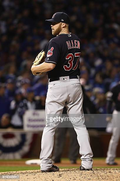 Cody Allen of the Cleveland Indians pitches in the eighth inning against the Chicago Cubs in Game Five of the 2016 World Series at Wrigley Field on...