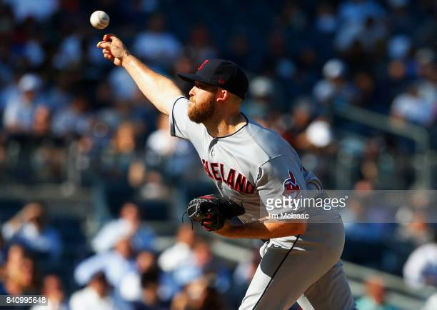 Cody Allen of the Cleveland Indians pitches in the ninth inning against the New York Yankees in the first game of a doubleheader at Yankee Stadium on...