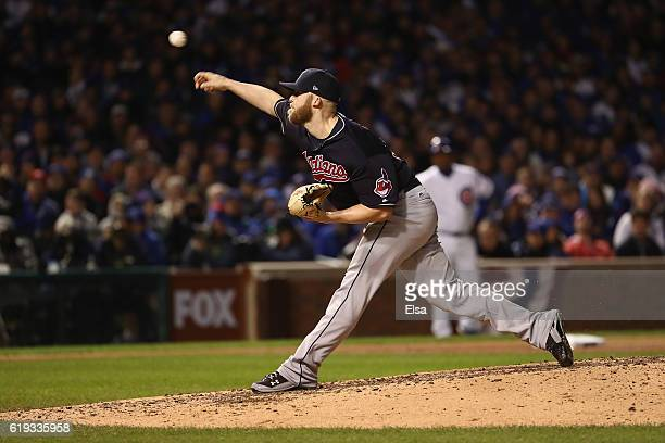 Cody Allen of the Cleveland Indians pitches in the seventh inning against the Chicago Cubs in Game Five of the 2016 World Series at Wrigley Field on...
