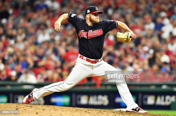 Cody Allen of the Cleveland Indians pitches in the tenth inning against the New York Yankees during game two of the American League Division Series...