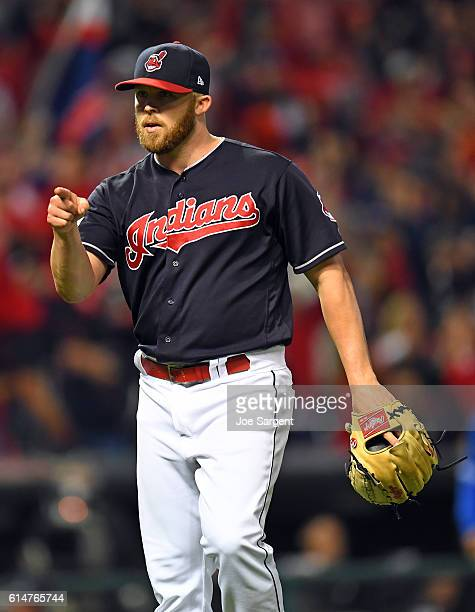 Cody Allen of the Cleveland Indians reacts to getting the final out to defeat the Toronto Blue Jays in Game 1 of ALCS at Progressive Field on Friday...