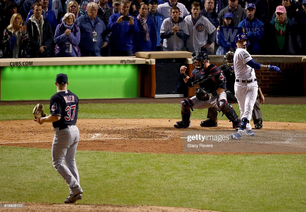 Cody Allen #37 of the Cleveland Indians strikes out Javier Baez #9 of the Chicago Cubs to end the game in Game Three of the 2016 World Series at Wrigley Field on October 28, 2016 in Chicago, Illinois.