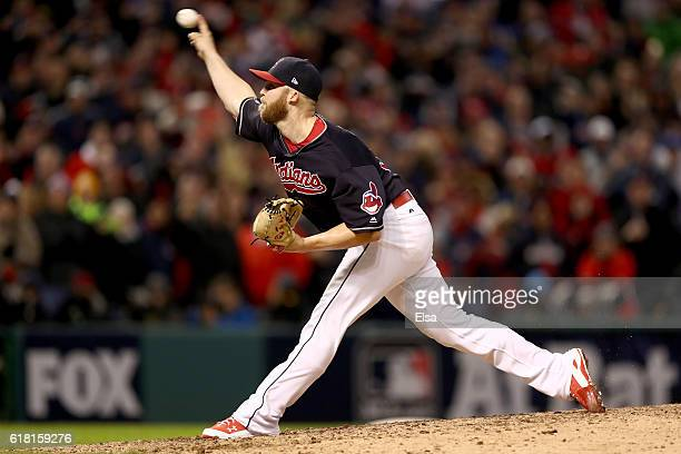 Cody Allen of the Cleveland Indians throws a pitch during the ninth inning against the Chicago Cubs in Game One of the 2016 World Series at...