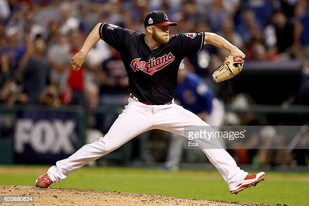 Cody Allen of the Cleveland Indians throws a pitch during the seventh inning against the Chicago Cubs in Game Seven of the 2016 World Series at...