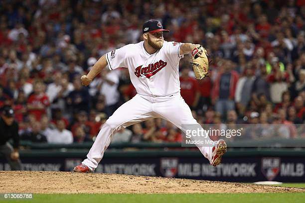 Cody Allen of the Cleveland Indians throws a pitch in the eighth inning against the Boston Red Sox during game one of the American League Divison...