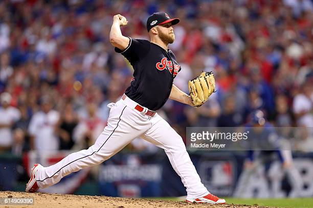 Cody Allen of the Cleveland Indians throws a pitch in the ninth inning against the Toronto Blue Jays during game two of the American League...
