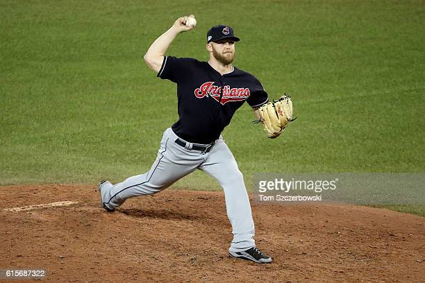 Cody Allen of the Cleveland Indians throws a pitch in the ninth inning against the Toronto Blue Jays during game five of the American League...
