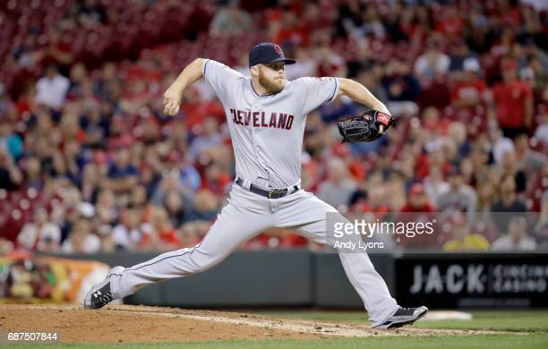 Cody Allen of the Cleveland Indians throws a pitch in the ninth inning during the game against the Cincinnati Reds at Great American Ball Park on May...