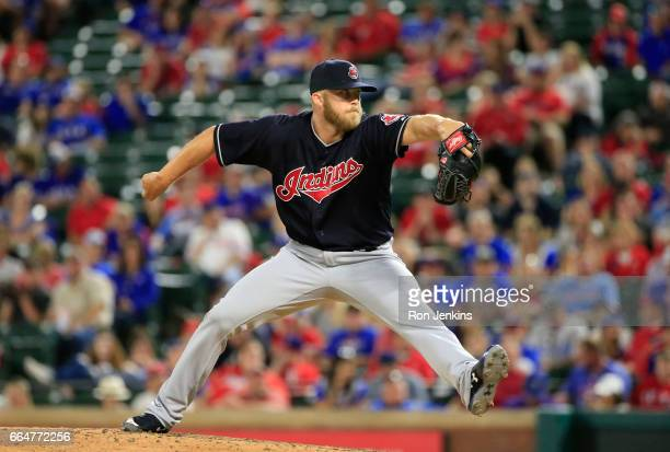 Cody Allen of the Cleveland Indians throws against the Texas Rangers in the ninth inning on Opening Day at Globe Life Park in Arlington on April 3...