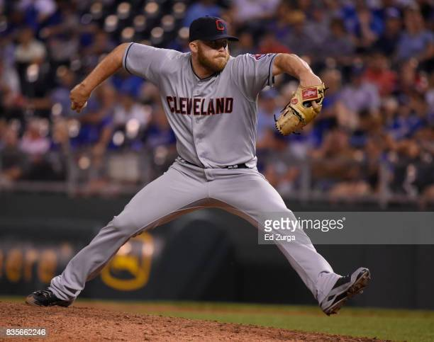 Cody Allen of the Cleveland Indians throws in the ninth inning against the Kansas City Royals at Kauffman Stadium on August 19 2017 in Kansas City...