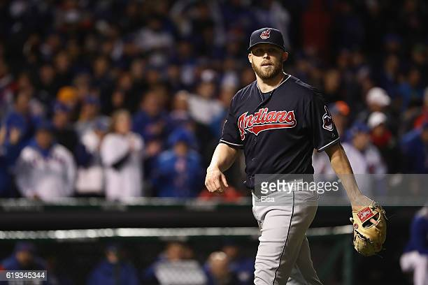 Cody Allen of the Cleveland Indians walks off the field after the eighth inning against the Chicago Cubs in Game Five of the 2016 World Series at...